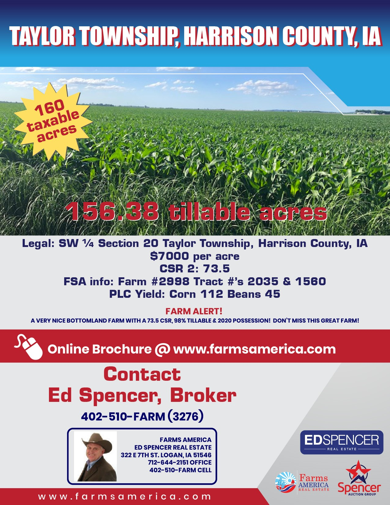 160 acres - High CSR - Harrison County, IA
